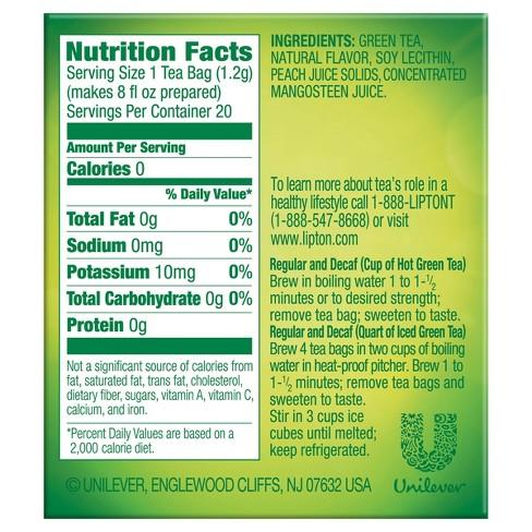 Lipton Green Tea Nutrition Label