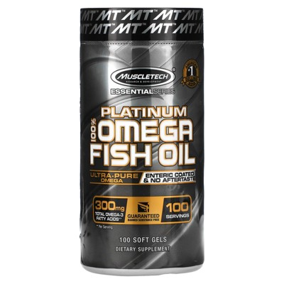 Muscletech Essential Series, Platinum 100% Omega Fish Oil, 100 Soft Gels, Omegas and FishOil