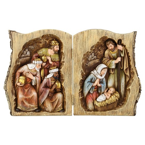 Log Book with Nativity Scene Holiday Figurine - image 1 of 1