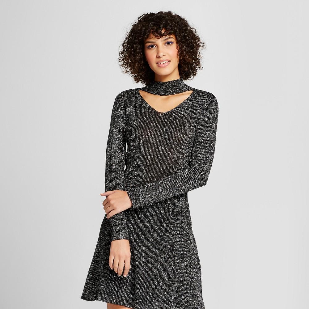 Women's Metallic Cutout Sweater Top - Xhilaration Black XL