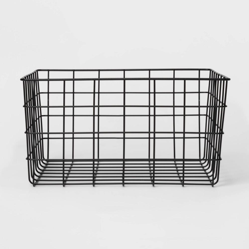 "Image of ""13"""" Decorative Baskets Steel Black Rectangular - Room Essentials"""