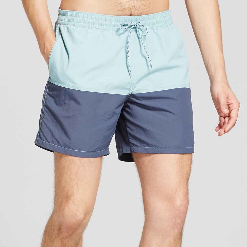 Men's 6 Double Panel Swim Trunks - Goodfellow & Co Aqua XS, Blue