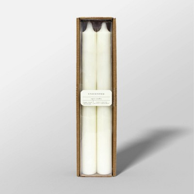 "10"" 2pk Unscented Taper Candles Cream - Threshold™"