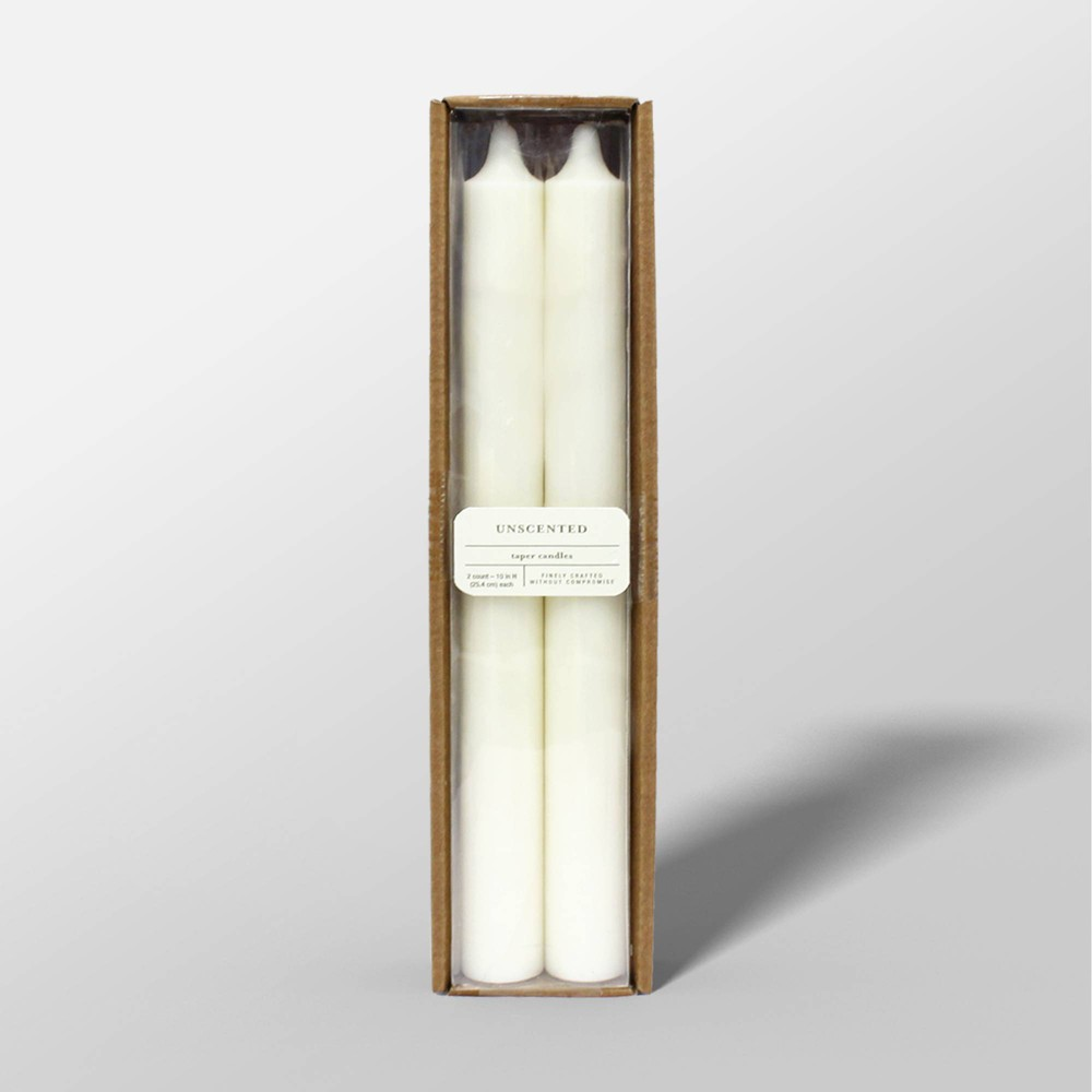 "Image of ""10"""" 2pk Unscented Taper Candles Cream - Threshold , Beige"""