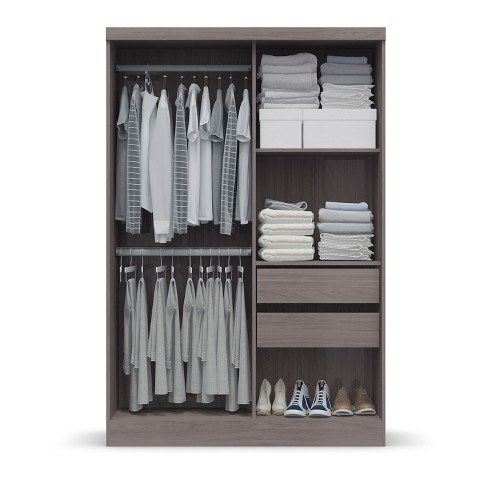 Wardrobe With Sliding Doors Wood Gray Home Source Industries