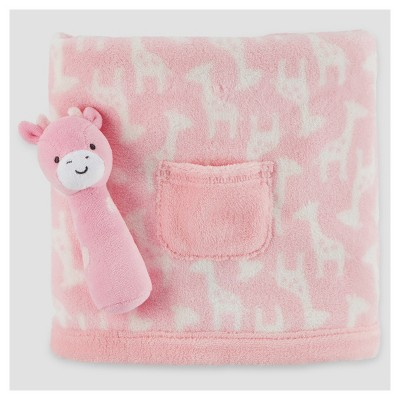 Fluffy Fleece Pocket Blanket/Plush Rattle Toy - Just One You™ Made by Carter's™ Pink Giraffe