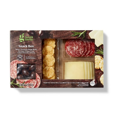 Salami, Provolone Cheese Slices, Parmesan Cheese Crisps and Dark Chocolate Almonds - 2.7oz - Good & Gather™