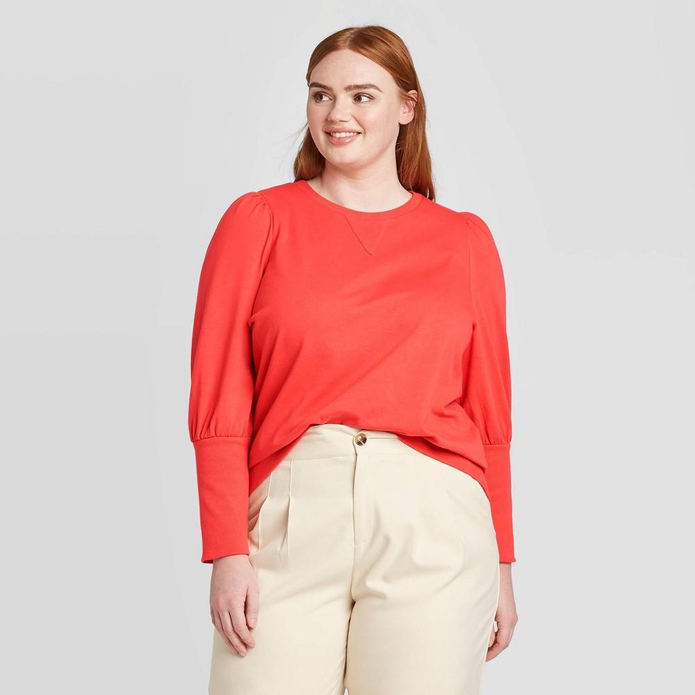 Women's Plus Size Edwardian Sweatshirt - Who What Wear Red 4X was $29.99 now $20.99 (30.0% off)