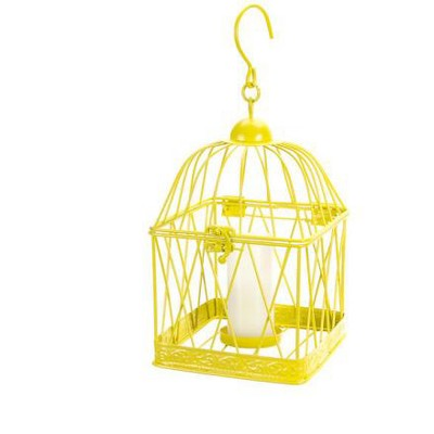 "Melrose 10"" Tropicalia Bright Sunshine Yellow Bird Cage Tea Light Candle Holder"