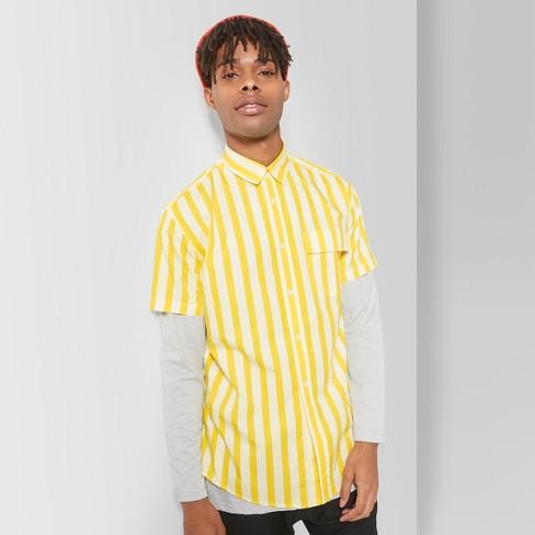 c3bba5dde1 Men's Striped Short Sleeve Button-Down Shirt - Original Use™ Yellow Bliss L  : Target