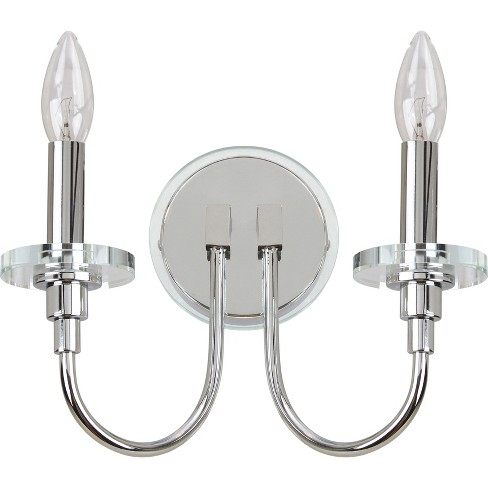 "Darla 2 Light ""6.25"" H Wall Sconce Chrome / Clear - Safavieh® - image 1 of 2"