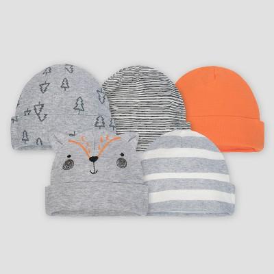 Gerber® Baby Boys' 5pk Caps Explorer - Gray/Orange 0/6M