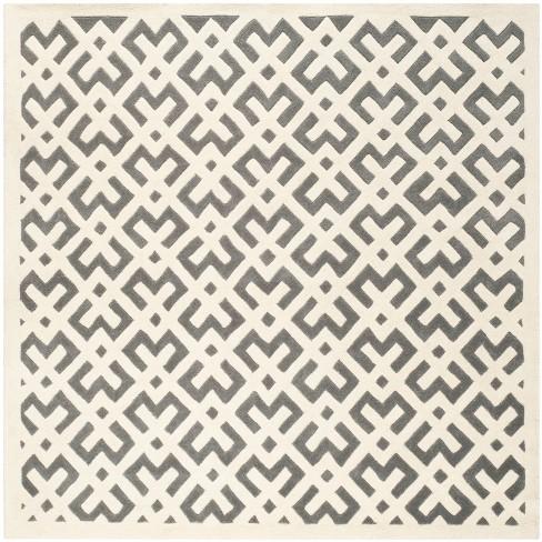 Dark Gray/Ivory Geometric Tufted Square Area Rug 7'X7' - Safavieh - image 1 of 2