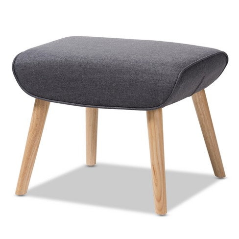 Alden Mid - Century Modern Fabric Upholstered Finished Wood Ottoman - Baxton Studio - image 1 of 6