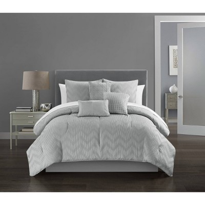 Queen 10pc Holly Bed In a Bag Comforter Set Gray - Chic Home Design