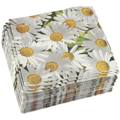 "Juvale 100 Pack White Daisy Flower Disposable Paper Napkins Birthday Party Supplies, 6.5x6.5"", Greenery"