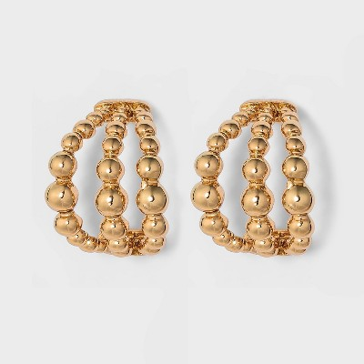 Beaded Small Hoop Earrings - A New Day™ Gold