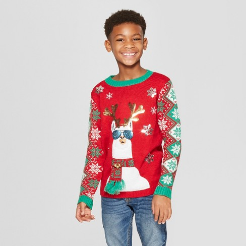 Boys Llama Family Ugly Christmas Sweater 33 Degrees Red Target