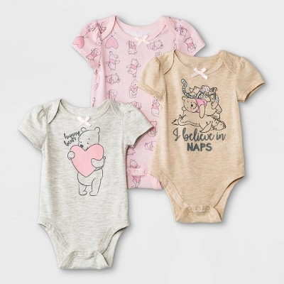 Baby Girls' 3pk Winnie the Pooh Knit Short Sleeve Bodysuit - Beige