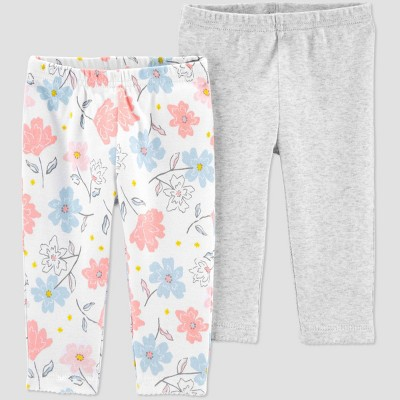 Baby Girls' 2pk Floral Leggings - little planet organic by carter's Cream 9M