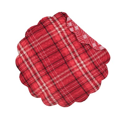 C&F Home Andrew Red Plaid Cotton Quilted Round Reversible Placemat Set of 6