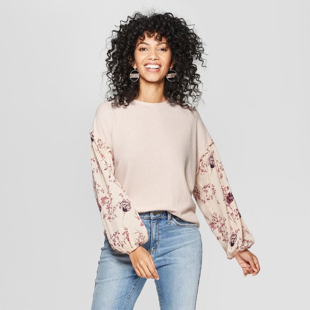 Women's Floral Print Long Sleeve Contrast Sleeve Top - Knox Rose Pink Xxl