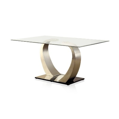 LangtonGlass Top Dining Table Silver/Black - HOMES: Inside + Out