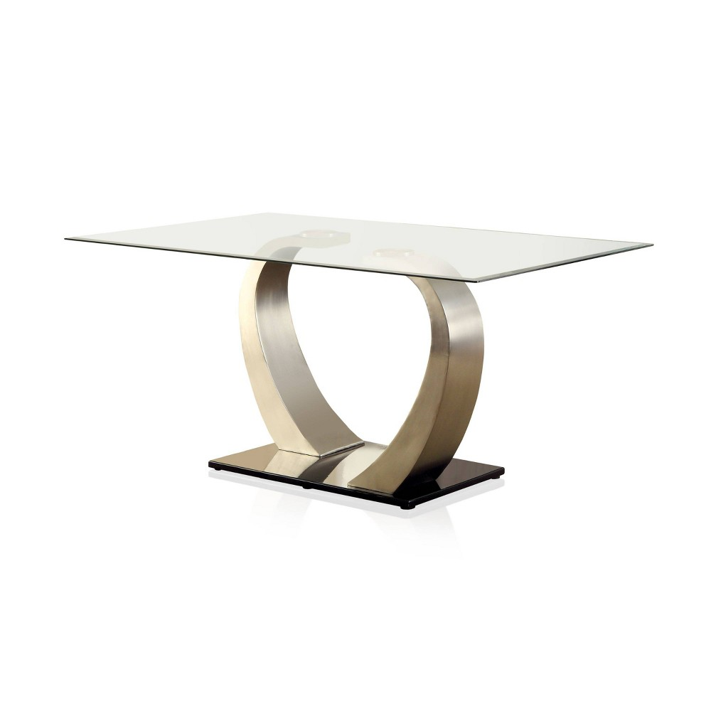 Langton Glass Top Dining Table Silver/Black - ioHOMES