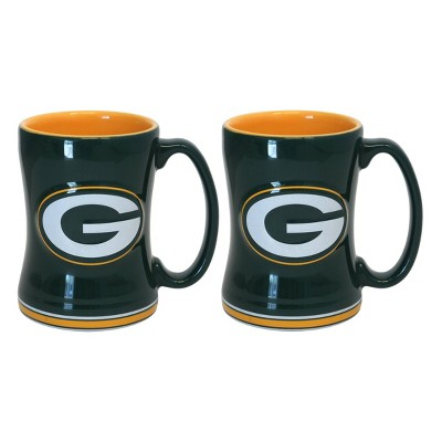 NFL Boelter Brands 2 Pack Relief Mug 15 oz - Green Bay Packers