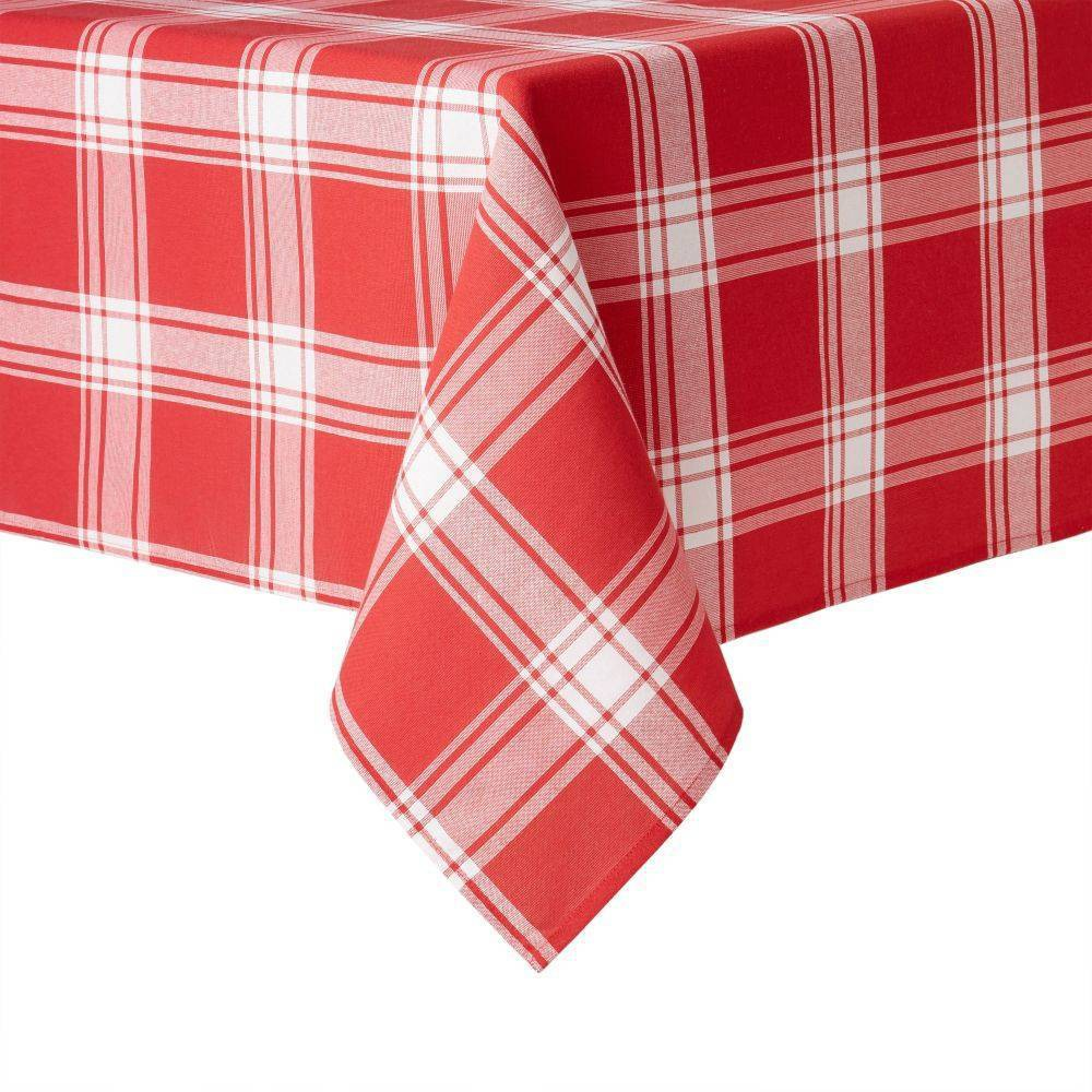 160 34 X 60 34 Cotton Buffalo Check Tablecloth Red White Town 38 County Living