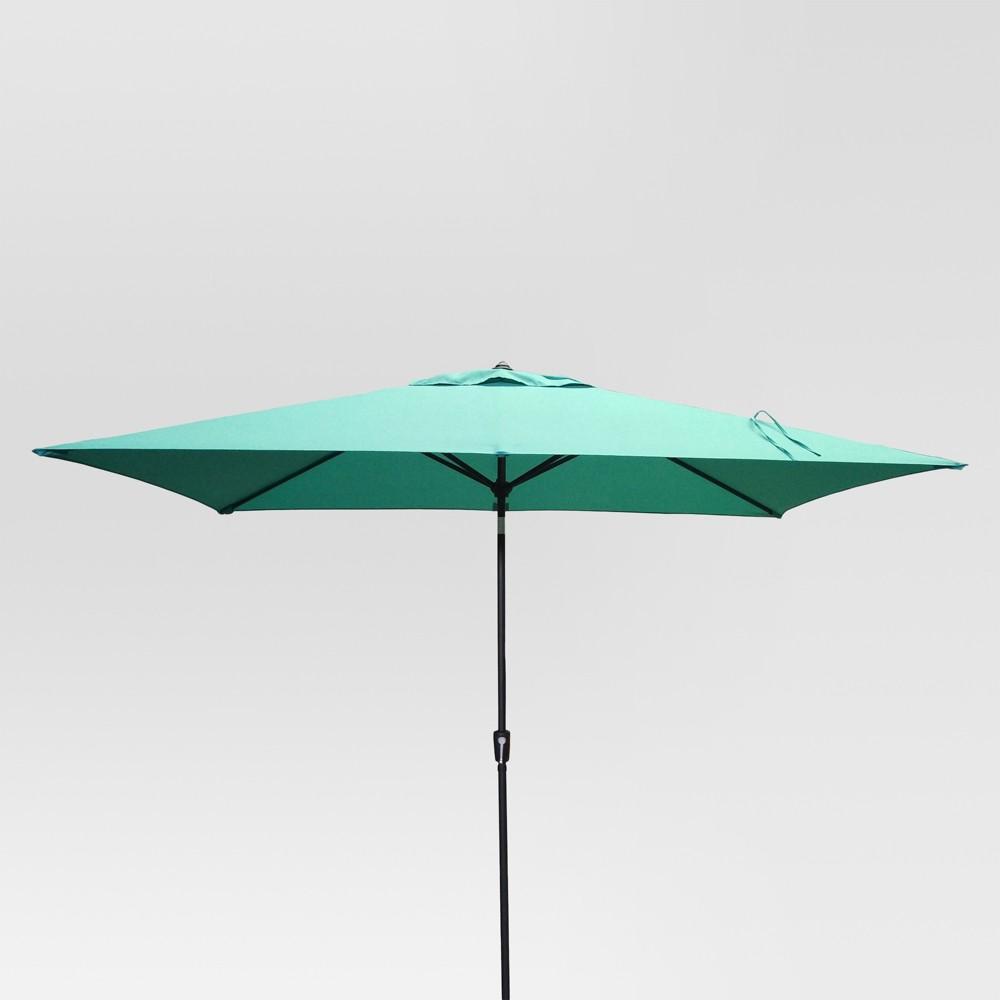 10 39 X 6 39 Rectangular Patio Umbrella Duraseason Fabric 8482 Turquoise Black Pole Threshold 8482