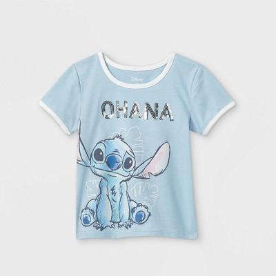 Toddler Girls' Disney Stitch Ohana Short Sleeve Graphic T-Shirt - Blue - Disney Store