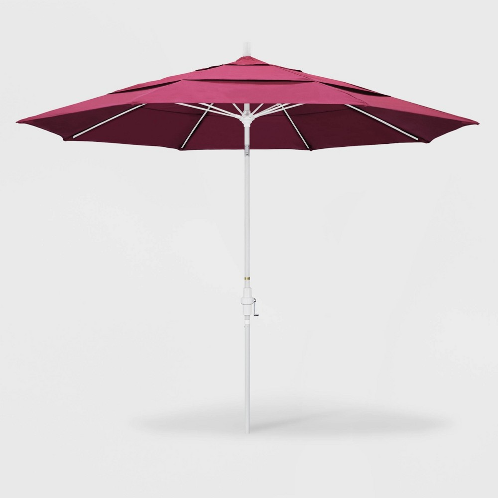 Image of 11' Sun Master Patio Umbrella Collar Tilt Crank Lift - Sunbrella Hot Pink - California Umbrella