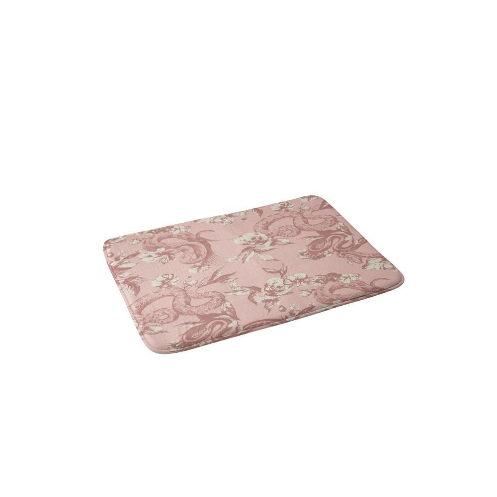24 x 36 Floral Snake Blush Bath Rug Pink - Deny Designs Discounts