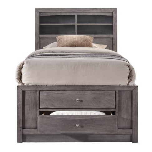 Twin Bed With Storage.Madison Twin Storage Bed Gray Picket House Furnishings