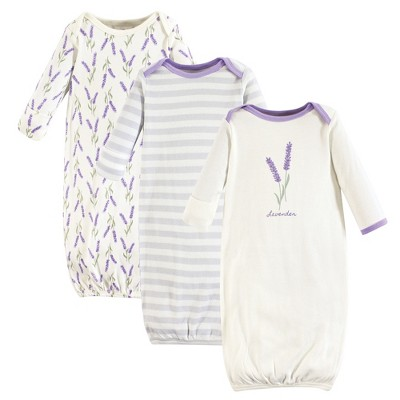Touched by Nature Baby Girl Organic Cotton Long-Sleeve Gowns 3pk, Lavender, 0-6 Months