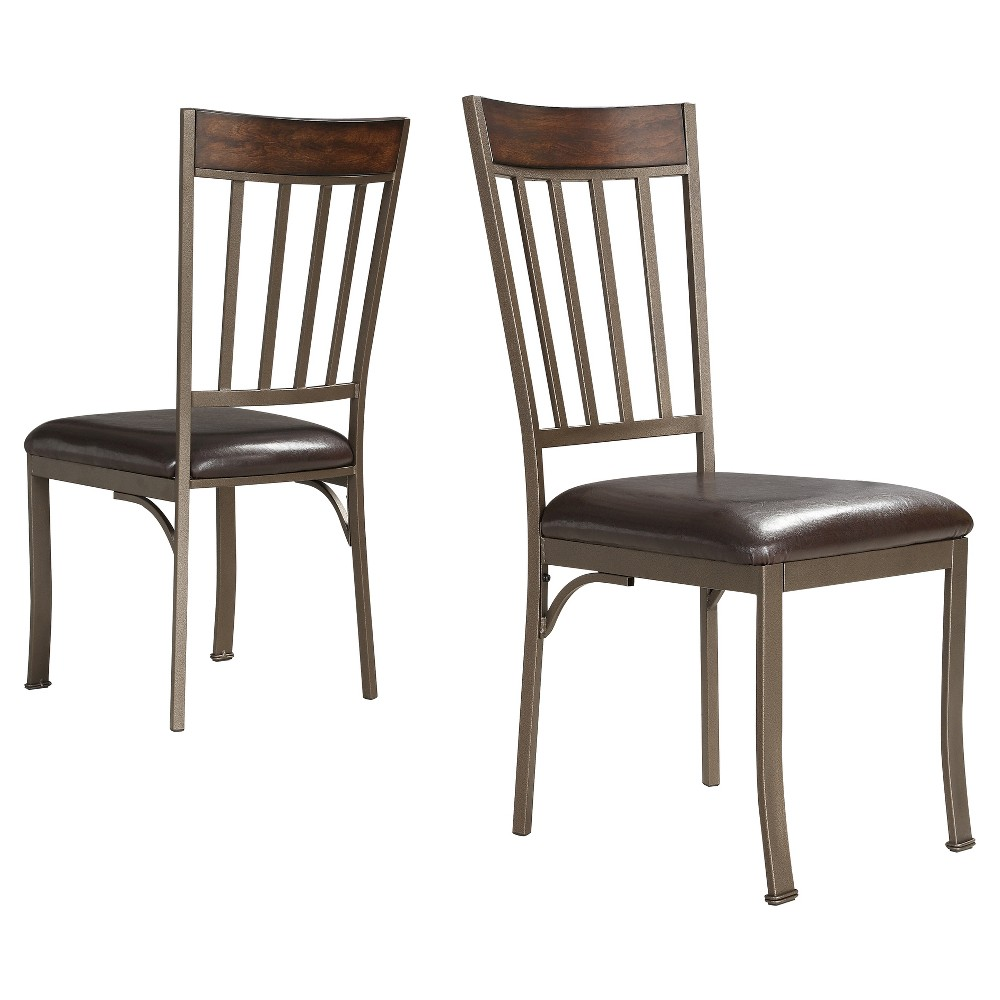 Harston Mixed Media Dining Chair Metal/Pewter (Silver) Gray (Set of 2) - Inspire Q