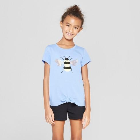 4b94f83d5e Girls' Short Sleeve Tie Front Bee Flip Sequins T-Shirt - Cat & Jack™ Blue