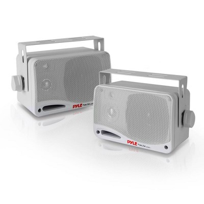 Pyle PDWR42WBT 3.5 Inch 200 Watt Waterproof Stereo Speaker System for Indoor or Outdoor Theater Bluetooth Surround Sound System, White (2 Pack)