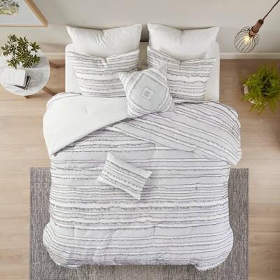 Full/Queen Jordan 5pc Cotton Clip Jacquard Comforter Set Gray