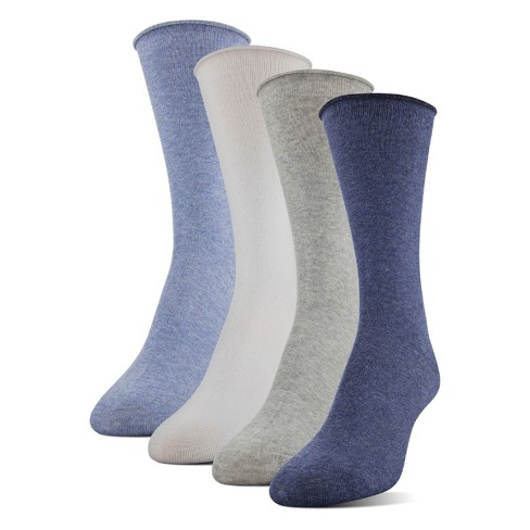Medipeds Women's 4pk Roll Top Crew with Aloe Casual Socks - Heather Blue 9-11 - image 1 of 2