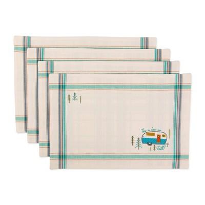 Set of 4 Assorted Camper Embellished Placemat Natural - Design Imports