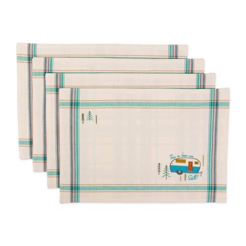 Set of 4 Assorted Camper Embellished Placemat Natural - Design Imports - image 1 of 4