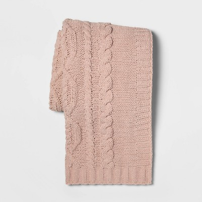 Cable Knit Chenille Throw Blanket Pink - Threshold™