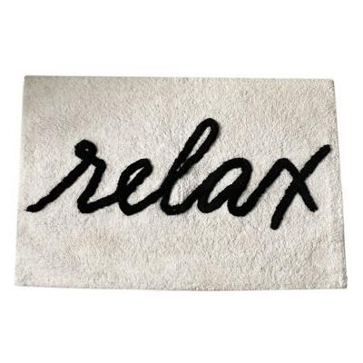 Relax Word Novelty Cute Bath Rug - Black/White - Elrene Home Fashions