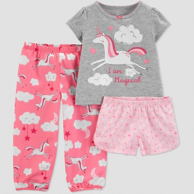 Baby Girls' 3pc Unicorn Pajama Set - Just One You® made by carter's Gray 12M