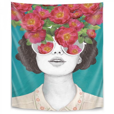 Americanflat The Optimistrosetinted Glasses by Laura Grave Wall Tapestry