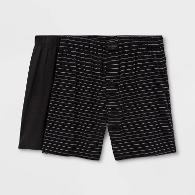 Men's Striped 2pk Knit Boxer - Goodfellow & Co™ Black