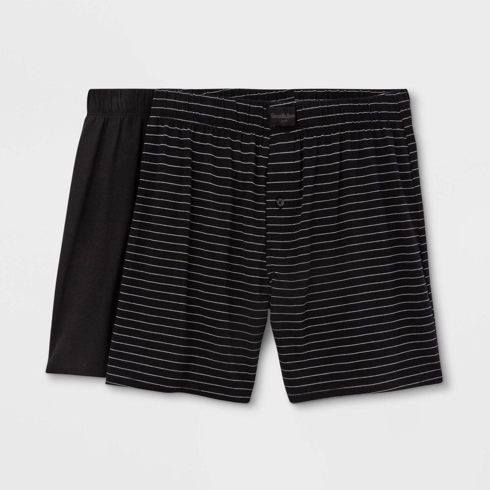 Men 39 S Striped 2pk Knit Boxer Goodfellow 38 Co 8482 Black L