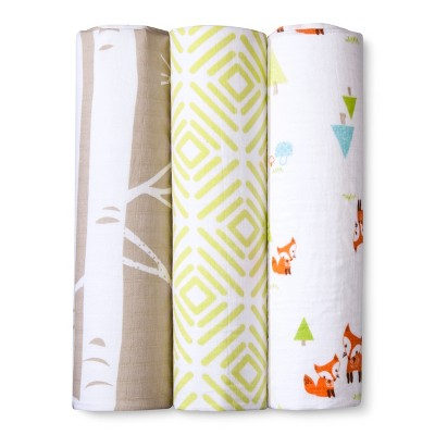 Muslin Swaddle Blankets Woodland Trails 3pk - Cloud Island™ - Lime